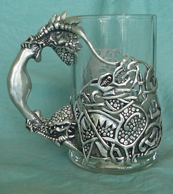 Superb Two headed celtic dragon with celtic decorative pattern on the glass